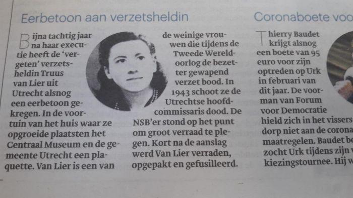 Truus van Lier krijgt een plaquette en een Stolperstein
